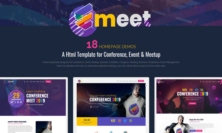 Emeet Website Template, Event Website Template, Meetup Website Template