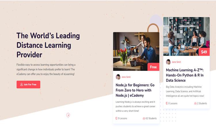 eCademy Online Education Theme, Online Education Theme, Education WordPress Theme