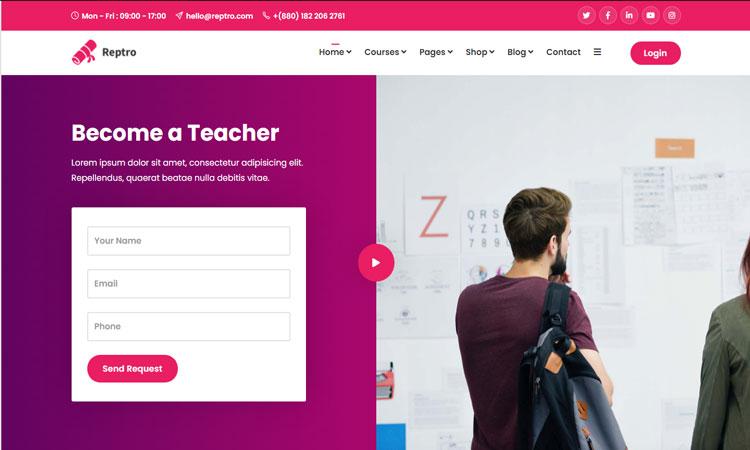 Reptro WordPress Theme, Online Course Themes, Online Course WordPress Theme
